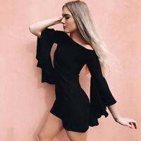Sexy Women Off Shoulder Flare Sleeves Bodycon Cocktail Party Slim Mini Dress L