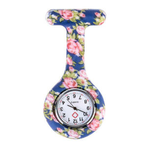 Battery Fob Nurse Watch With Blue Floral Patterned Quartz Tunic Brooch Pin Clip