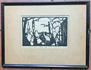 Tod Lindenmuth Provincetown Woodblock Pencil Signed