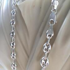 Men Puffed Mariner Oval Link Chain Necklace 7mm 23GR 20 Inch 925 Sterling Silver