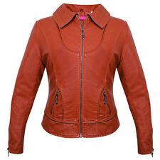 NEW Womens AO Synthetic Leather Dress Casual Biker Jacket Coat BRICK 812 MEDIUM