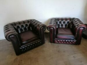 Matching Pair Of Chesterfield Club Chairs In Oxblood Red