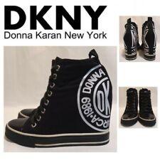 DKNY Hidden Wedge Hi Tops Trainers Boots UK3 EU35.5 *VGC* Black