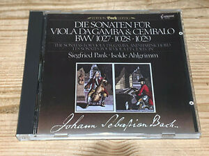Bach Sonatas for Viola da Gamba SIEGFRIED PANK AHLGRIMM CAPRICCIO JAPAN CD MINT