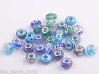 20pcs 15x9mm Lampwork Glass Murano European Charm Big Hole Loose Beads Blue Mix