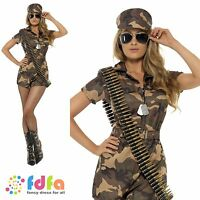 CAMO SEXY ARMY GIRL JUMPSUIT SOLDIER UK 8-14 womens ladies fancy dress costume