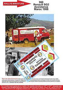 DECALS 1/18 REF 960 RENAULT SAVIEM SG2 SUPER GOELETTE ASSISTANCE RALLYE 1968