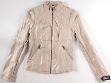GUESS faux Leather Cream colored lined Jacket- XS- NEW- fashion coat - NWT-