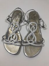 GUESS Silver White Multi Patent Sandals Size 10