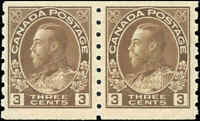 1918 Mint NH Canada Pair 3c F-VF Scott #129ii Admiral KGV Coil Stamps