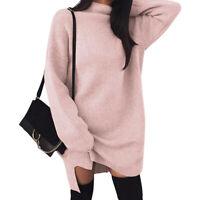 Winter Women Warm Knitted Sweater Dress Long Sleeve Turtleneck Pullovers Dress