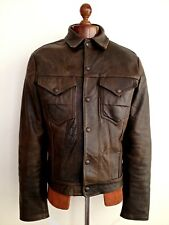 Vtg Mens Leather 1950s LEVIS BIG E LONGHORN TRUCKER TYPE 2 Western Jacket Coat