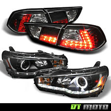 08-17 Mitsubishi Lancer Black DRL Projector Headlights+Philips LED Tail Lights