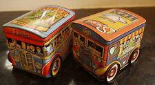 Vintage Pair of Metal Box Genuine Dodo Wheeled Bus Tea Caddies c1983
