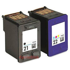 2pk Ink For HP 21 22 Deskjet D1445 D1470 D1520 D1560 F325 officeJet J3640 J3650
