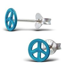 BLUE PEACE SIGN STERLING SILVER STUD EARRINGS - Retro Small Cute FREE Gift Box