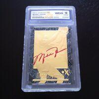 MICHAEL JORDAN AUTOGRAPHED LIMITED EDITON WCG GEMMT 10 23KT GOLD CARD! 6X CHAMP!