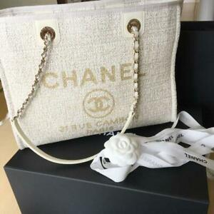 CHANEL Deauville MM Chain Tote Bag White Gold Lame Purse Woman Auth New receipt