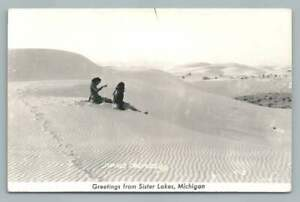 Sister Lakes Sand Dunes RPPC Vintage Michigan Photo Postcard 1940s
