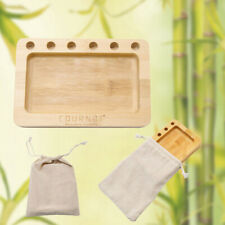 COURNOT 1x Hole Holder Multifunctional Natural Bamboo Rolling Tray Smoke Case