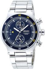SEIKO Chronograph SNN117 SNN117P1 Men Wide Date Blue Grid Dial Steel 100m Watch