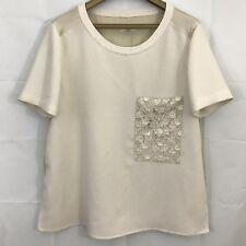 Rag & Bone Women Shirt L Cream Ivory Short Sleeves Silk Blend Embroidered Pocket