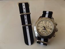 20mm Nato Style MilitaryWoven Nylon Watch Strap watch Band Blac/White