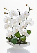 Deko ARRANGEMENT ORCHIDEE WEISS in Keramik Schale Kunstblume Orchideen Topf NEU