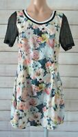 Adidas Neo Skater Dress Size 14 10 Pink Grey Yellow Floral Shorts Sleeve