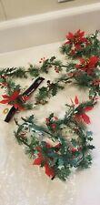 Christmas Garland 9 Foot Vintage Retro Plastic Holly Berries Pine Nos Brite Star