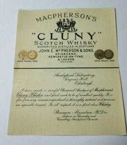 VINTAGE MACPHERSON'S CLUNY SCOTCH WHISKY LABORATORY LABEL