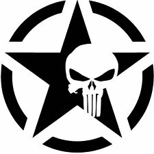 The Punisher Skull Decal | Vinyl Sticker Motorcycle Car Truck Star *Many Sizes*