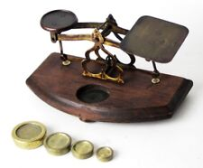Antique Brass Postal Scales on Mahogany Base - FREE Shipping  [PL4524]