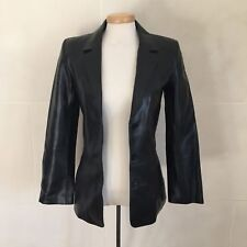Identify 100% leather black long sleeve button down jacket size 2 lined