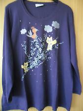 * Ulla Popken * Damen-Langarmshirt * 50/52 * neu * lila mit Aufdruck *