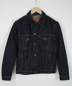 BRAVE STAR Men's SMALL Rigid Dark Blue Denim Trucker Jacket 39395-ES