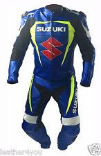 SUZUKI BIKER MOTORCYCLE LEATHER SUIT MOTO GP MOTORBIKE LEATHER JACKET TROUSER