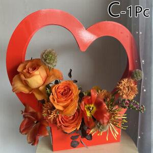 Kraft Paper Bag Heart Shape Flower Box Bag Waterproof Bouquet Florist Supply New