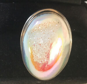 925 Sterling DRUZY White & Gray w/Pink Luster Ring, Weight: 20 Grams, Size: 7.75