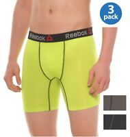 REEBOK MEN UNDERWEAR 3 PACK BOXER BRIEF STRETCH PERFORMANCE TRAINING YELLOW NEW