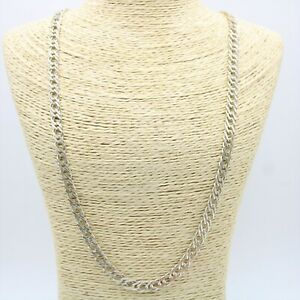 """Sterling Silver Fancy Double Curb Chain Ladies Mens Necklace 26g 6mm 24"""""""