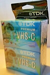 TDK Premium VHS-C 30 Min 4-Pack Camcorder Video Tape Sealed