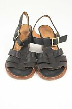 Chie Mihara Black Leather T-Strap Block Heels Sandals Size 37 7 EUC