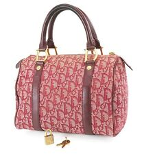 Auth CHRISTIAN DIOR Red Trotter Canvas and Leather Small Boston Hand Bag #36775