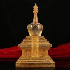 Tibetan Buddhist natural crystal hand-carved totem Sakyamuni + Relic pagoda