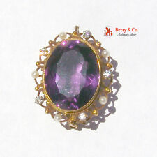 Large Amethyst Brooch Seed Pearls Diamonds 14 K Gold