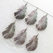 10pcs 47x25mm Carved Tibetan Silver Feather Pendant Bead YC-36985 (W)