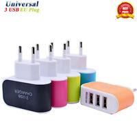 Universal 3.1A Triple 3 USB Port Wall Home Travel AC Charger Adapter EU Plug UK