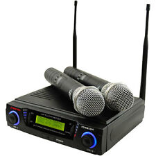 Pyle PDWM3300 Wireless Professional UHF Dual Channel Microphone System