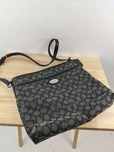 Coach File Ladies Signature Smoke / F36182 Black Jacquard Side Bag